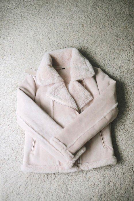 全新未穿 韓版 灰色羔羊毛騎士外套