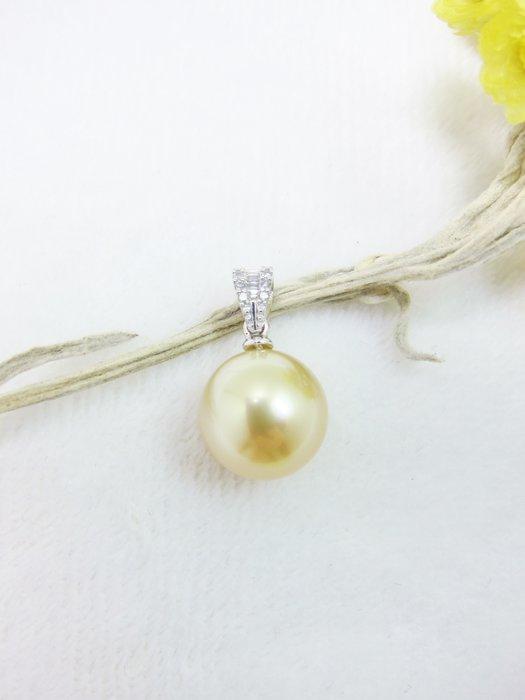 10.2mm南洋黃金珍珠18K鑲鑽墜子【元圓珠寶】