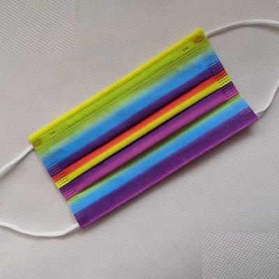 抖音網紅同款彩虹口罩一次性口罩 彩色口罩(一組50入)成人彩虹花色時尚無紡布三層含絨噴透氣