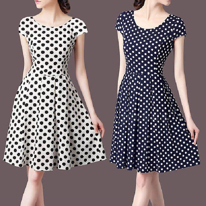 ✿ 吉米花 ✿特價~ B-083267 氣質波點修身連衣裙 ( 黑 4XL ) 全碼 現貨