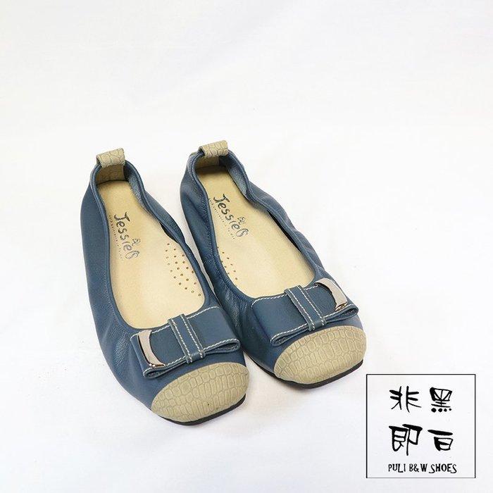 【非黑即白】#零碼#MIT舒適真皮柔軟女娃娃鞋 平底鞋 低跟鞋 灰藍 310154
