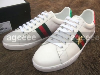 GUCCI 431942 Baskets basses avec broderie 蜜蜂 皮革 休閒鞋