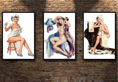 現代裝飾畫Gil Elvgre新款n pin-up新 girls性感女郎美女浴室框畫(多款可選)jk01