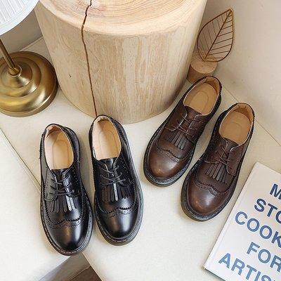 娃娃鞋牛津鞋休閒鞋 小皮鞋女夏季新款2020英倫風復古布洛克流蘇系帶平底黑色學生女鞋