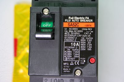FUJI 富士 斷路器 開關 FAB NFB SA52C 2P 10A 日本製 無熔絲