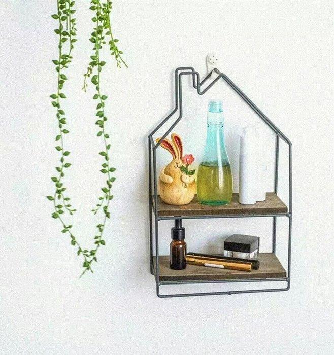 zakka小款房屋型鐵藝木層板置物架收納架展示架【 蘇菲亞精品傢飾】