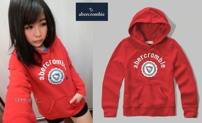 a&f abercrombie&fitch applique logo pullover hoodie麋鹿徽章連帽T紅色