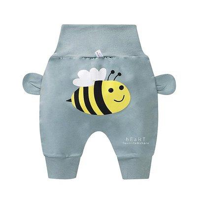 【媽媽倉庫】休閒高腰護肚哈倫褲 灰綠蜜蜂 褲子 童裝