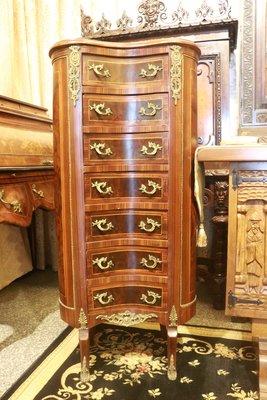 (已售)【家與收藏】特價稀有珍藏歐洲百年古董法國路易十五風格古典精緻手工銅金鑲嵌Inlaid高邊櫃/大置物櫃