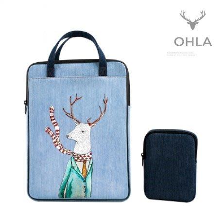 ☆歐拉雜貨屋☆日系麋鹿先生印花牛仔手提包 13.3吋14吋15.6吋電腦包筆電包包禮物