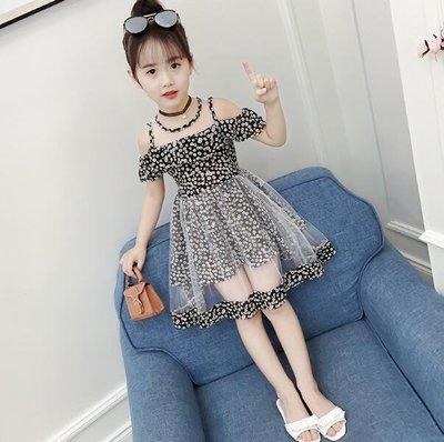 洋裝 碎花裙 女童夏裝 新款連身裙 韓版潮小女孩夏季洋氣雪紡公主裙兒童裙子—莎芭