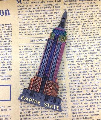 *歐米.O-MI*~美國 曼哈頓 帝國大廈(Empire State)外觀建築造型手工立體彩繪旅遊磁鐵 紀念品磁鐵