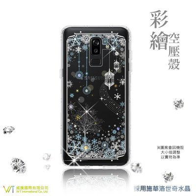 【WT 威騰國際】 WT® Samsung Galaxy J8 (18) 施華洛世奇水晶 彩繪空壓殼 保護殼 -【映雪】