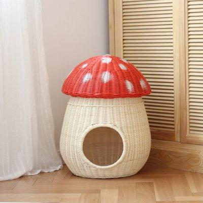 家裡的小怪獸   CATSCITY原創設計純手工藤編蘑菇貓屋網紅貓窩貓床四季通用送墊子