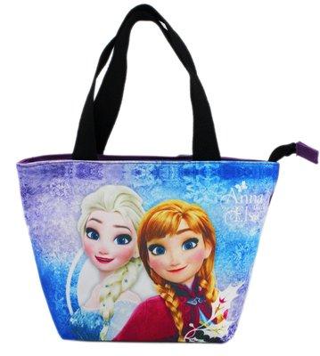 【卡漫迷】 冰雪奇緣 手提袋 紫 帆布 ㊣版 拉鍊式 餐袋 便當袋 手提包 艾莎 Elsa 安娜 Frozen 外出包
