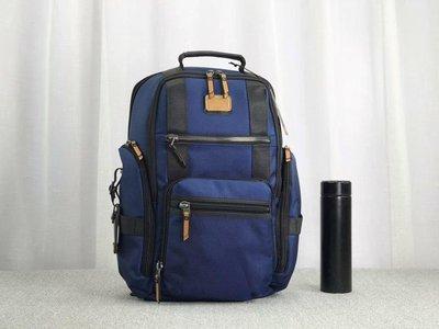 凱莉代購 TUMI 深藍 232389DRE 優質加厚尼龍拼接皮革 雙肩後背包 質感經典款 可放筆電  特價預購