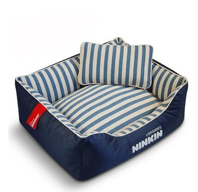 【興達生活】藍白織布+枕頭S`約6斤以下純棉狗窩可拆洗狗床熊鬥牛犬金毛泰迪瑞比雪納熊狗墊子`19511