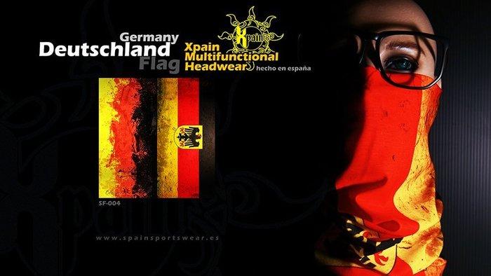 純正西班牙製造西班牙Xpain多功能頭巾 魔術頭巾 德國國旗 德意志國旗 亦有其他國家國旗多功能頭巾 瑞典 比利時 希臘