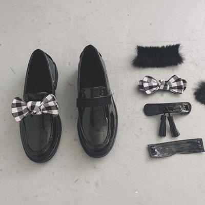 韓國百變小黑鞋百搭套頭圓頭pu漆皮小平跟單鞋樂福
