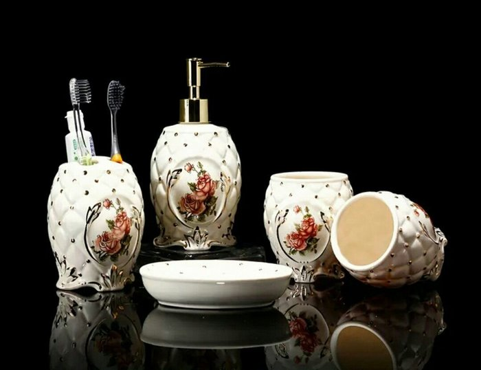 粉紅玫瑰精品屋~金玫瑰系列歐式陶瓷衛浴五件套~