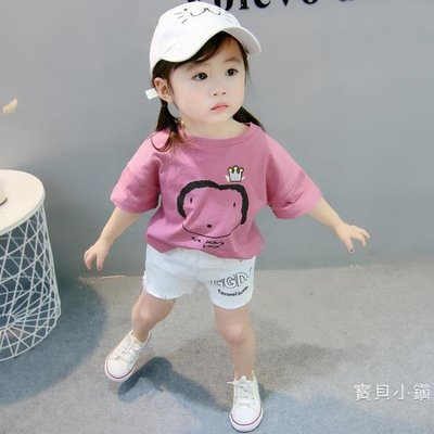 女童短袖 童裝女童洋氣短袖T恤棉質寶寶夏裝新品韓版嬰兒0-1-2-3歲兒童上衣BBXZ17777