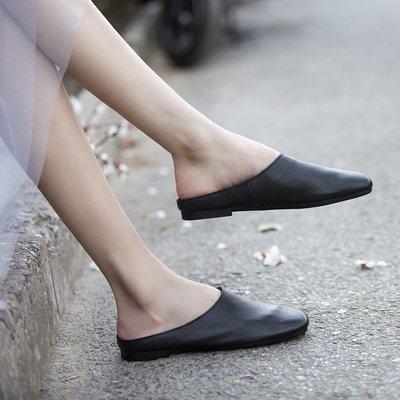 YouDo XZ 夏季新款頭層軟牛皮包頭拖鞋 軟底簡約一腳蹬方頭超軟拖鞋女