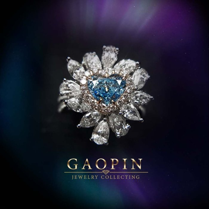 【高品珠寶】GIA1.03克拉心型藍鑽戒指 GIA國際證書 藍彩鑽石  18K金 #4027