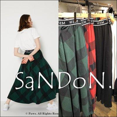 SaNDoN x『MOUSSY』冬季各一件單品 格紋鬆緊運動復古長裙 SLY 181204