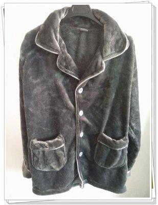 秋冬季男士素色加厚珊瑚絨睡衣法蘭絨長袖套裝大碼開衫家居服