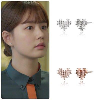 【韓Lin連線代購】韓國 HAESOO.L 海秀兒 - JE1209 925銀 設計款愛心鑲鑽耳環