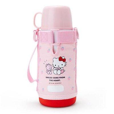尼德斯Nydus 日本正版 凱蒂貓 Hello Kitty 草莓 兩用不鏽鋼保溫瓶 水壺 水瓶 附水壺袋 670ml