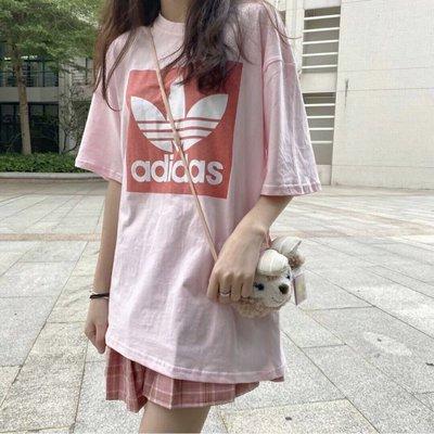 adidas 三葉草 愛迪達T桖 女生短袖上衣 正韓純棉夏季短袖t桖 圓領 寬鬆 女裝 半袖體恤打底衫