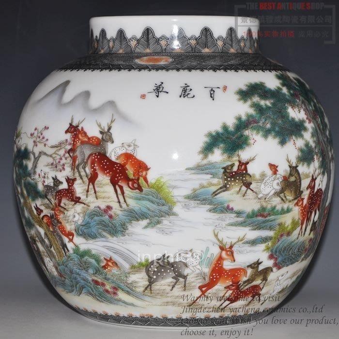 INPHIC-景德鎮瓷器名人大師花瓶 手繪粉彩百鹿尊圖 收藏品