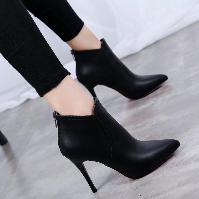 【最佳禮物】高跟鞋2018新款短靴女冬季棉鞋子高跟女鞋尖頭加絨靴子細跟百搭馬丁靴女性感