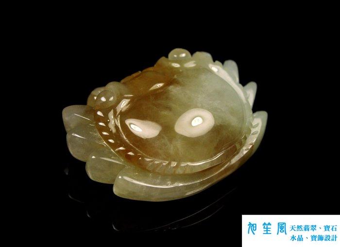 【旭笙風】天然A貨翡翠冰種放光飄蜜糖黃墜子「螃蟹」
