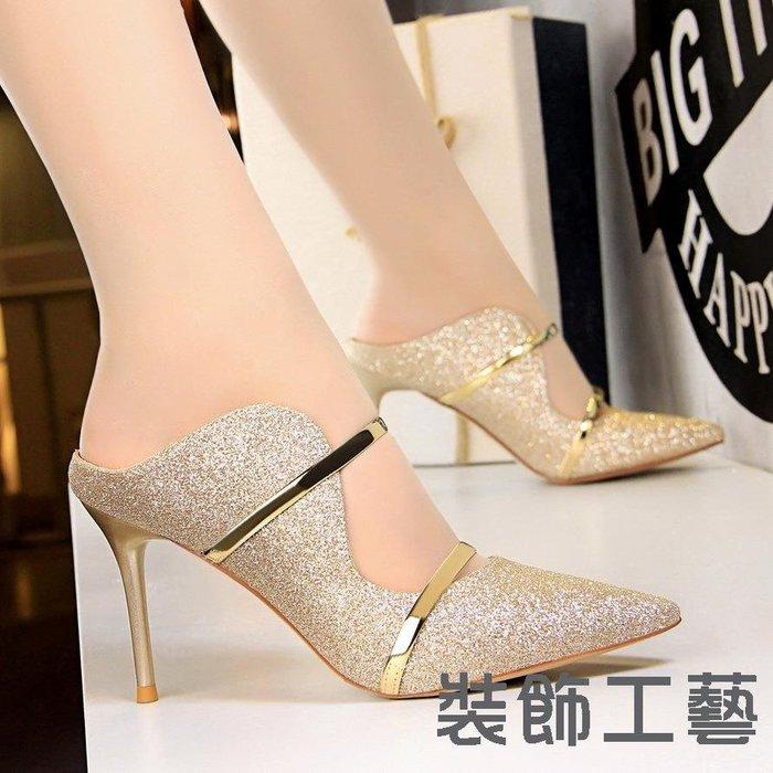 1788-1時尚性感夜店女鞋細跟高跟亮片布一字帶夏季涼拖鞋女