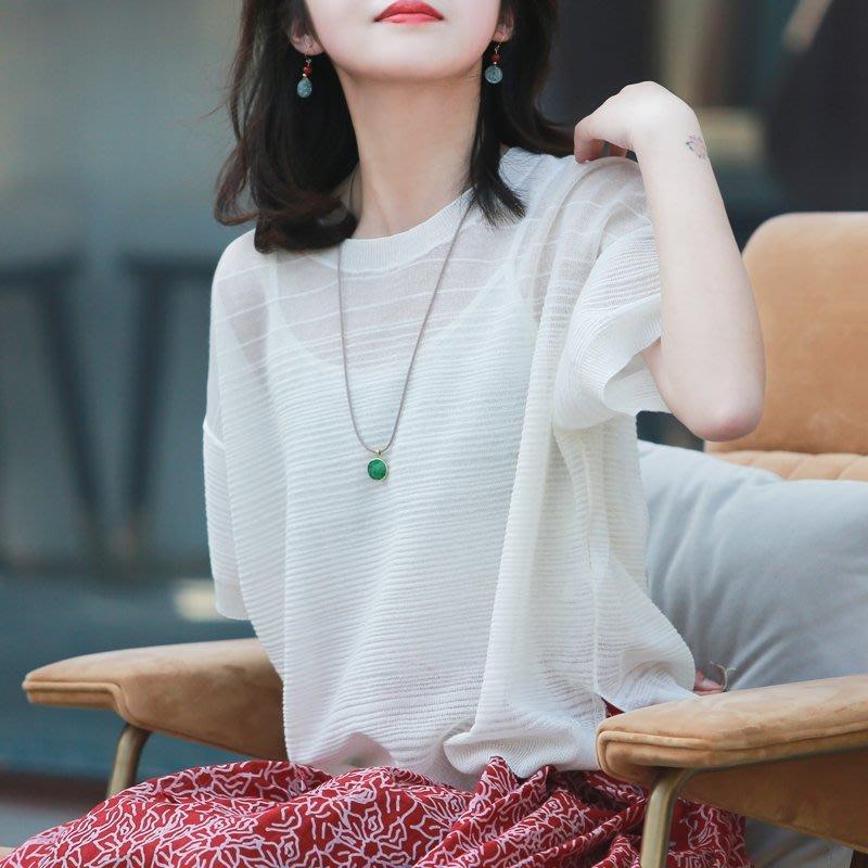 【鈷藍家】棉麻臆想 原創夏霜淇淋針織衫白色涼爽圓領短袖百搭T恤上衣