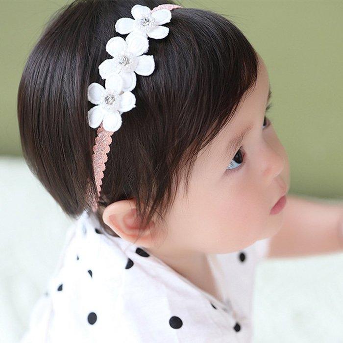 ☆草莓花園☆B60兒童髮帶 三朵花 兒童髮飾  百天照頭飾 嬰兒髮帶 髮冠 皇冠 造型周歲照 藝術照