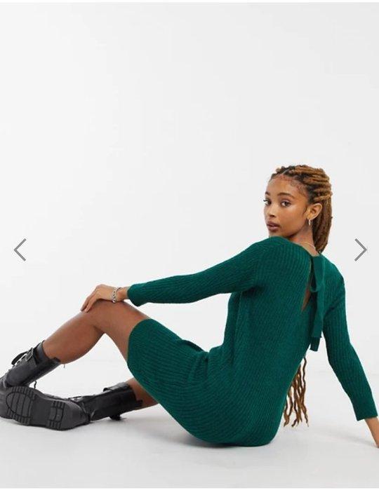 (嫻嫻屋) 英國ASOS -Miss Selfridge優雅時尚名媛卡其綠色針織V領寬鬆合身裙洋裝 SJ20