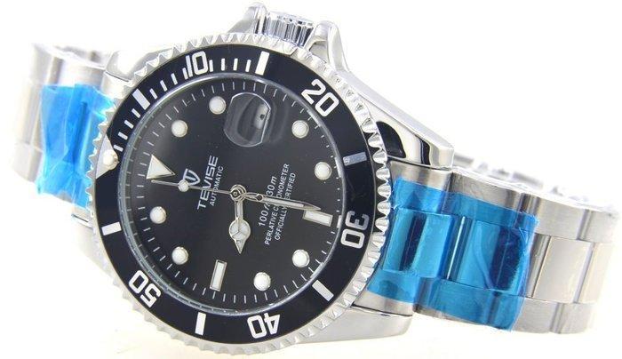 (六四三精品)錶徑4.0公分.黑面鬼王.不鏽鋼錶殼及錶帶,自動上鍊機械機芯!