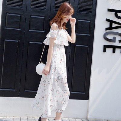iven正韓專櫃連身裙子洋裝2020夏季新款露肩吊帶超仙女碎花雪紡收腰顯瘦氣質長裙女