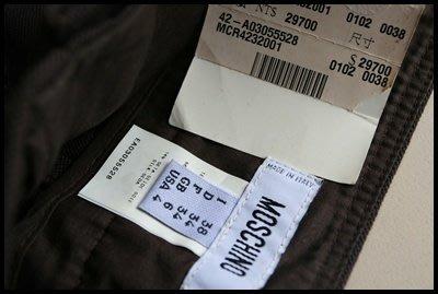 全新專櫃真品【MOSCHINO  】Moschino Cheap&Chic黑色小直筒卡其布牛仔褲原價$29700