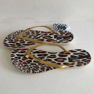 《現貨》Ipanema 女生 拖鞋 巴西尺寸33/34,38(舒適鞋底 豹紋印花 人字夾腳平底拖鞋-米色/金色)