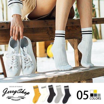 襪子 JerryShop【XHR1847】復古經典條紋中筒女襪運動襪(5色) 足球襪 條紋襪 文青 防滑落 棉質 舒適