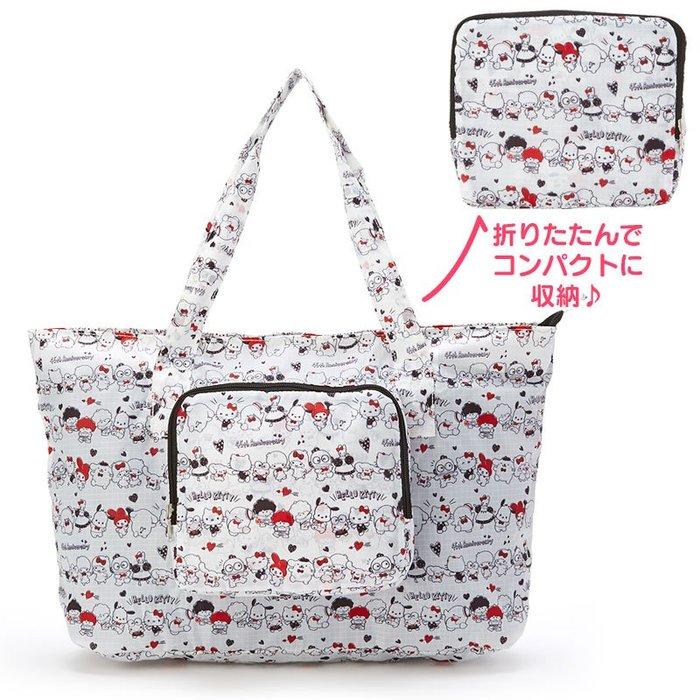 S號 三麗鷗家族《預購》日本三麗鷗 正版 凱蒂貓美樂蒂雙子星布丁狗 旅行袋 肩背袋 肩背包 可可摺疊收納固定於行李箱把手