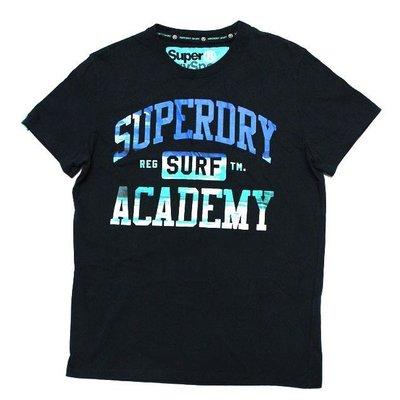 (高雄自取) 保證正品【零碼出清】現貨 Superdry 極度乾燥 藍綠漸層 男款短T (黑色)