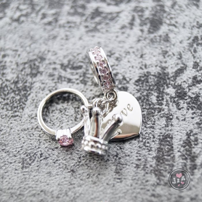 【Jia' s】粉愛心皇冠戒指墜項鍊單墜潘潘朵拉單珠純銀串珠S925。正生純銀