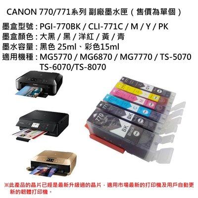 ✨艾米精品🎯CANON 770/771系列 副場墨盒(單個售價)💎MG5770/MG6870/MG7770/TS-5