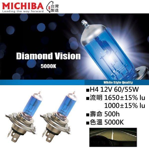 和霆車部品中和館—台灣MICHIBA 色溫5000K 規格H4 12V 60/55W 超白光鹵素燈泡(1組2顆入)