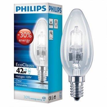 【燈飾林】PHILIPS 飛利浦 E14 42W 蠟燭省電鹵素燈泡 新北市
